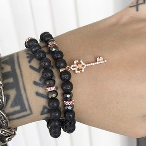 Rose gold plated cz key fleur de lis bracelets set